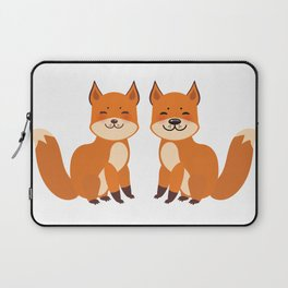 cute fox, boy and girl with funny face and fluffy tails on white background Laptop Sleeve