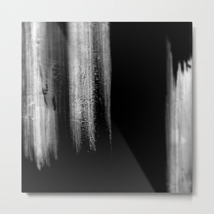 Black And White Bokeh Stripes Brush Strokes - Rad Metal Print