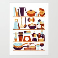 kitchen Art Prints featuring Kitchen by Kata