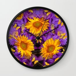 YELLOW BUTTERFLY SWARM LILAC-KHAKI COLOR Wall Clock