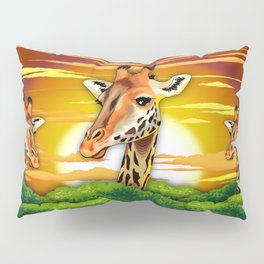 Giraffe on Wild African Savanna Sunset Pillow Sham
