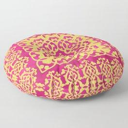 Spanish Inspired Tile Liquid Gold and Magenta Floor Pillow