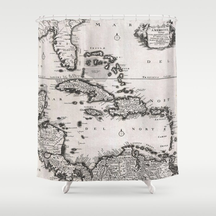 Vintage Map Of The Caribbean 1696 Shower Curtain