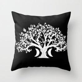 The Zen Tree - White on Black Throw Pillow