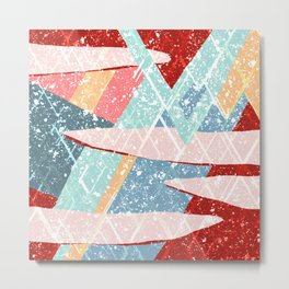 Abstract Splash Geometric Mountains in Clouds Design Metal Print