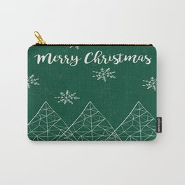 Merry Christmas Green Carry-All Pouch