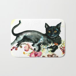 Coffee, Orchid and Black Cat Vintage Style Large Format XXL Bath Mat