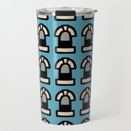 New York Windows Pattern 261 Blue and Grey Travel Mug