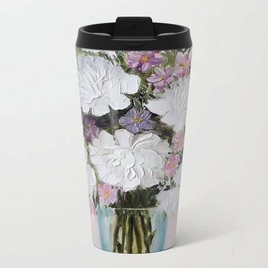 Flowers in a vase Metal Travel Mug
