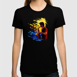 Colorful music player with flying birds.Musician portrait, saxophonist performance T-shirt
