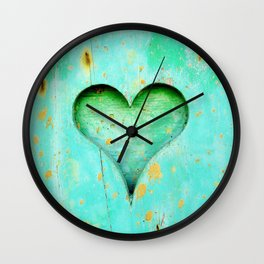 Blue Peeling Paint Wood Heart Wall Clock
