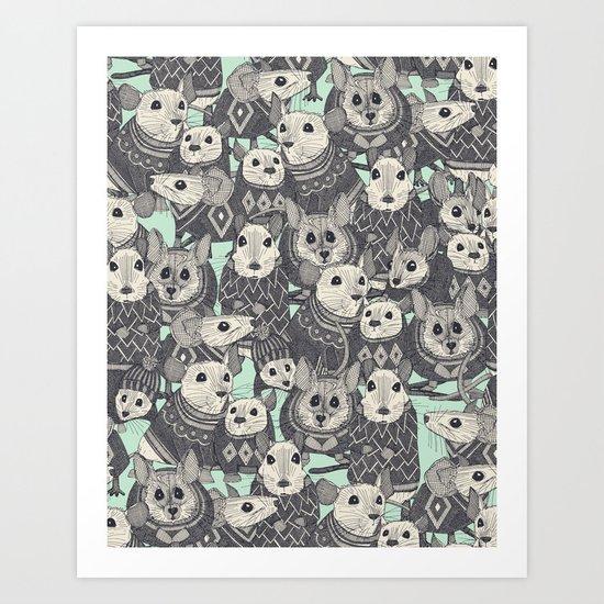 sweater mice mint Art Print