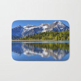 Mt. Timpanogos Reflected In Silver Flat Reservoir - Utah Bath Mat
