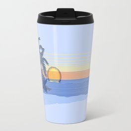 Big Sunset Hawaiian Surfer Striped Scenic Travel Mug
