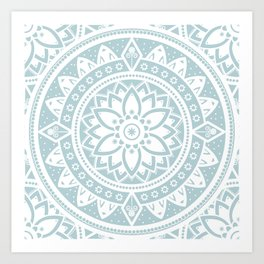 Mandala Pale Blue Spiritual Zen Bohemian Hippie Yoga Mantra Meditation Kunstdrucke