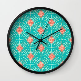 Dainty All Seeing Eye Pattern in Coral Wall Clock