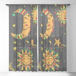 Moon, sun and stars pattern Sheer Curtain