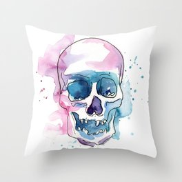Abstract Skull Watercolor Throw Pillow