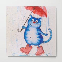 Cat in the rain Metal Print