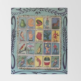 Mexican Bingo Loteria Throw Blanket