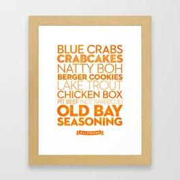 Baltimore — Delicious City Prints Framed Art Print