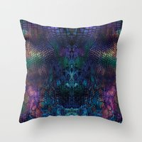 snake Throw Pillows featuring snake by Marta Olga Klara