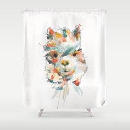+ Watercolor Alpaca + Shower Curtain