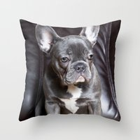 french bulldog Throw Pillows featuring French Bulldog by Falko Follert Art-FF77