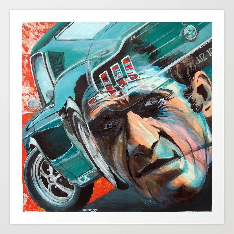Ford mustang steve mcqueen in bullitt art print