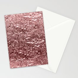 Rose Gold Pink Liquid Metallic Chrome Metal Stationery Cards