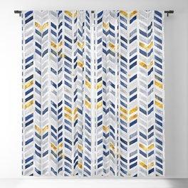 Herringbone chevron pattern.Indigo faux gold acrylic canvas Blackout Curtain