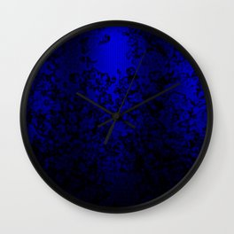 Vibrant blue abstract floral fantasy on black Wall Clock