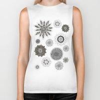 flower pattern Biker Tanks featuring Flower pattern by Noah's ART
