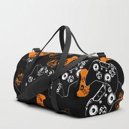 Video Game Orange on Black Duffle Bag