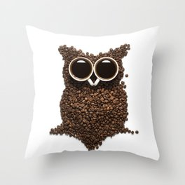 Coffee Owl Throw Pillow