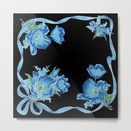 Black and Blue Vintage Ribbons and Flowers Metal Print