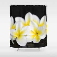 singapore Shower Curtains featuring Plumeria obtusa Singapore White by Sharon Mau