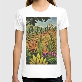 Look a Tiger in the Eye portrait painting by Tim Anand T-shirt