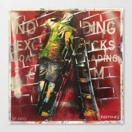 No Standing Ladder Writer Canvas Print