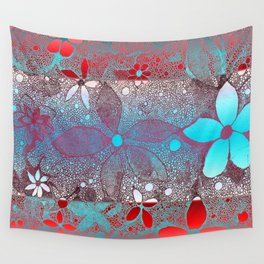 Flowers In Lace Red Blue Wall Tapestry