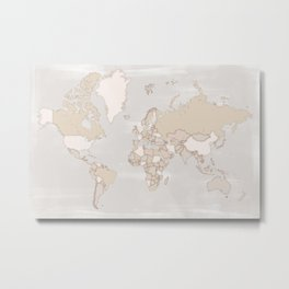 "Rustic world map in grey and brown ""Lucille"" Metal Print"
