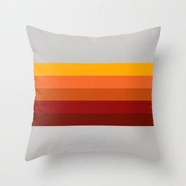 Light Gray & Orange Rainbow Stripes Throw Pillow