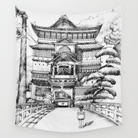 spirited away Wall Tapestries featuring Spirited Away Bathhouse by VivianLohArts