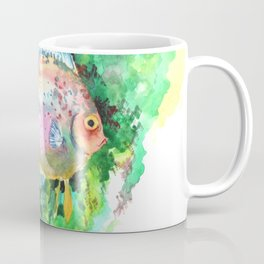 Aquarium Fish, Green Rainbow colors, Discus, Pink Green Illustration Coffee Mug