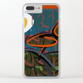 Jungle under an egg-moon Clear iPhone Case