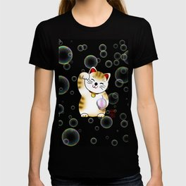 Lucky cat, calico maneki with pearl T-shirt