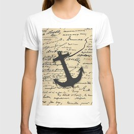 Vintage gray retro nautical anchor marine paper T-shirt