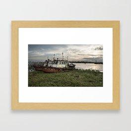 Old Police Boats Framed Art Print