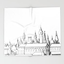 fabulous city . art . black and white Throw Blanket