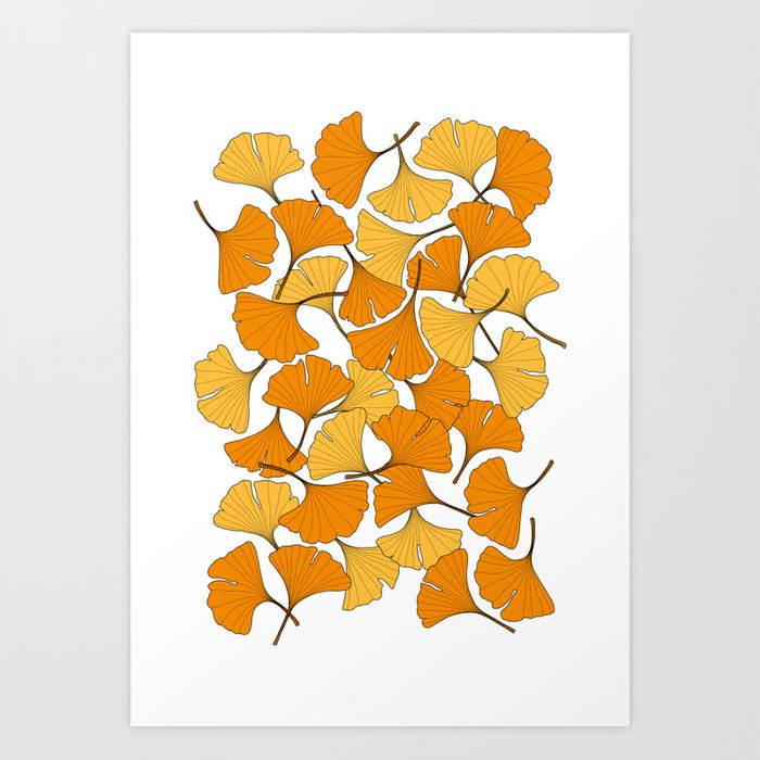 ginkgo leaves (orange) Art Print